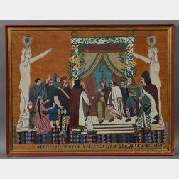 Framed French Beadwork on Velvet Panel