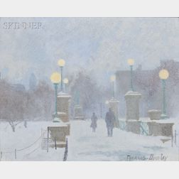 Thomas Russell Dunlay (American, b. 1951)      Late Afternoon Snowfall on the Boston Public Gardens