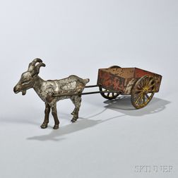 Tinned Sheet Iron Toy Goat and Cart