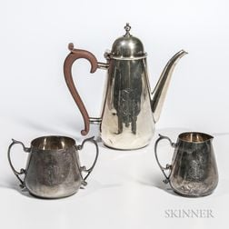 English Sterling Silver Coffeepot and Arts and Crafts English Sterling Silver Creamer and Sugar Set
