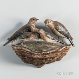 Carved and Painted Arrangement of Thrushes