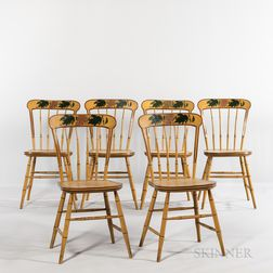 Set of Six Mustard Yellow-painted and Paint-decorated Bamboo-turned Tablet-back Windsor Chairs
