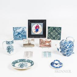 Eleven Wedgwood Transfer-decorated Ceramic Items