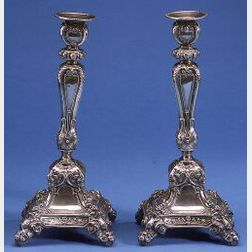 Pair of Austro-Hungarian .800 Silver Candlesticks
