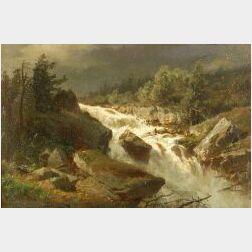 Albert Bierstadt (German/American, 1860-1902)  The Cascades, A Western Landscape