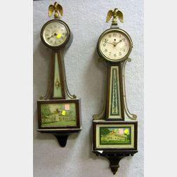 Telechron Mahogany Banjo Wall Clock and a Sangamo George Washington Banjo Wall Clock.