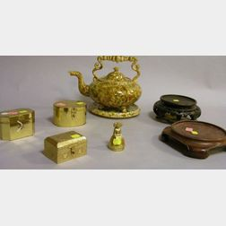 Bennington-type Glazed Pottery Footed Tea Kettle and Circular Tile, Three Brass Boxes, a Bell, and Two Asian Carved Hardwood Plant Stan