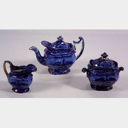 Three Piece Blue and White Transfer Decorated Staffordshire Pottery Partial Tea Set
