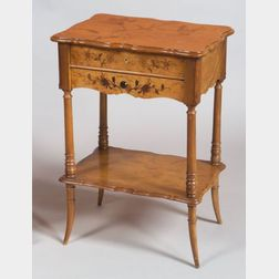 Art Nouveau Mother-of-Pearl and Fruitwood Inlaid Bird's-eye Maple Work Table