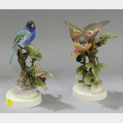 Pair of Royal Worcester Dorothy Doughty Hand-painted Bisque Indigo Bunting and   Blackberry Sprays Figurals
