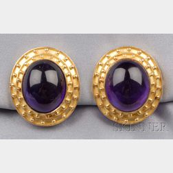 18kt Gold and Amethyst Earclips, Elizabeth Locke