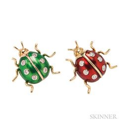 Two 18kt Gold and Enamel Ladybug Pins