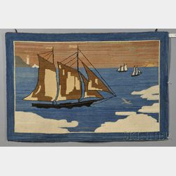 Grenfell Pictorial Hooked Rug with Arctic Sailing Vessels, Icebergs, and Distant   Lighthouse,
