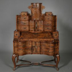 Baroque Marquetry, Walnut-veneer, and Pewter-inlaid Bureau Cabinet