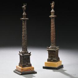 Two Grand Tour Bronze Models of Trajan's Column