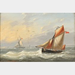 Louis Charles Verboeckhoven (Belgian, 1802-1889)      Two Ships at Sea