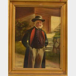 Austrian School, 19th/20th Century      Portrait of a Smiling Gentleman by a Stairway