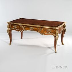 Louis XVI-style Kingwood- and Tulipwood-veneered Bureau Plat