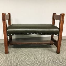 Contemporary Stickley Oak Bench