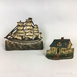 Polychrome Cast Iron Cottage and Ship Doorstops