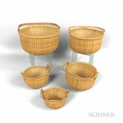 Set of Five Nesting Nantucket Baskets
