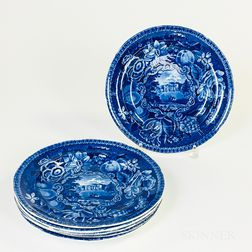 """Set of Six R. Hall's """"Select Views"""" Staffordshire Blue Transfer-decorated Plates"""