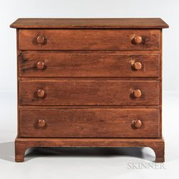 Pumpkin Pine Chest of Four Drawers