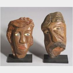 Two Polychromed Painted David Marshall Stone Carved Heads