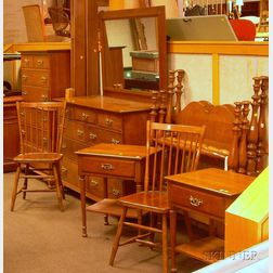 Eight-piece Leopold Stickley Colonial Revival Cherry Bedroom Suite