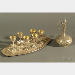 Eight Piece Middle Eastern Silver Cordial Set