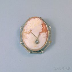 14kt Gold-framed Shell-carved Cameo Pendant Brooch