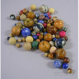 Approximately Eighty-nine Glazed, Clay, and China Marbles