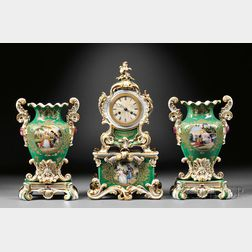 Three-piece Paris Porcelain Garniture with Clock and Vases