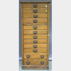 Late Victorian Oak Twelve-drawer Flat File Cabinet