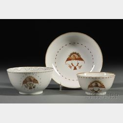 Three Eagle-decorated Chinese Export Porcelain Teaware Items