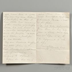 Stowe, Harriet Beecher (1811-1896) Autograph Letter Signed, 28 October 1886.