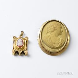 Lava Cameo Brooch and 14kt Gold Cameo Slide Pendant