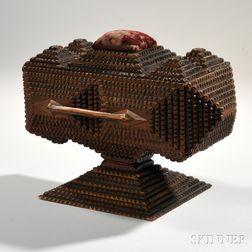 Tramp Art Pedestal Sewing Box with Drawer