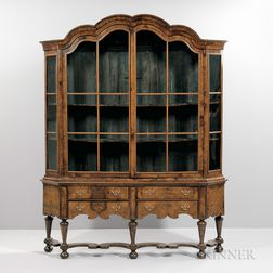Dutch Baroque-style Glazed Walnut Display Cabinet