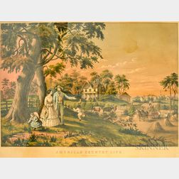 Nathaniel Currier Hand-colored Engraving American Country Life