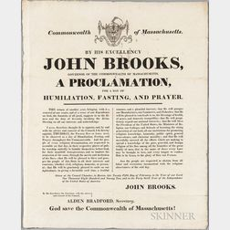 Commonwealth of Massachusetts, Four Broadsides Issued by Governor John Brooks, 1820s.