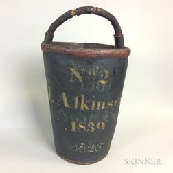 """J. Atkinson"" Painted Leather Firebucket"
