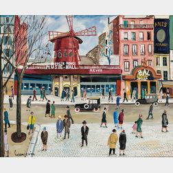 Lucien Génin (French, 1894-1958)      Place Blanche, Moulin Rouge