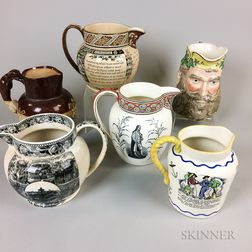 Six English Ceramic Pitchers
