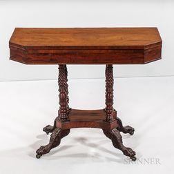 Classical Carved Mahogany and Mahogany Veneer Games Table