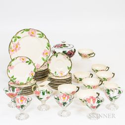 Set of Franciscan China and Six Painted Glasses