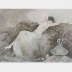 Attributed to Louis Icart (French, 1888-1950)  Reclining Female Nude