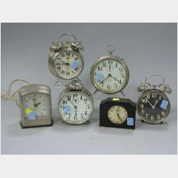 Six Art Deco and Mid 20th Century Alarm Clocks