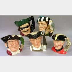 Five Large Royal Doulton Character Jugs