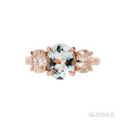 18kt Rose Gold, Aquamarine, and Diamond Ring